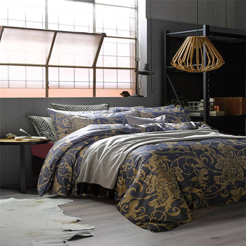 CHAUSUB Luxury Vintage Bedding Set 4pcs Gray Gold Satin Egpytian Cotton Duvet Cover King Queen Size Bed Sheets Silk Bed Linens