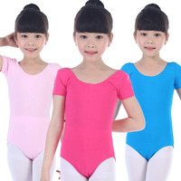 Child Girl Kid Short Sleeve Cotton Leotard Clothes High Elasticity Ballet Dance Dress Gymnastics Wear Long
