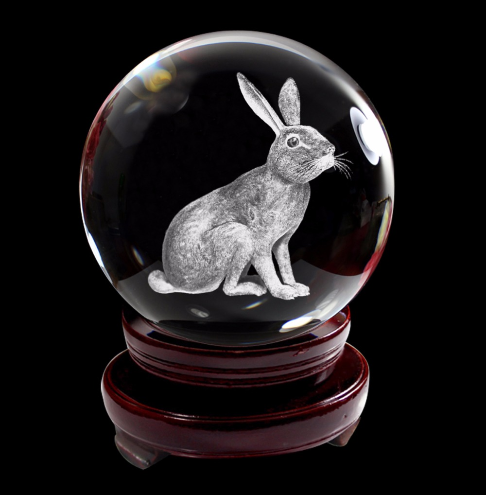 Chinese Zodiac Signs Crystal Ball 3D Laser Engraved <font><b>Rooster</b></font> Dog Rabbit Mouse K9 Crystal Glass Ball with Wooden Stand 80mm
