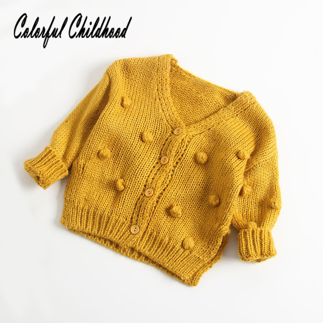 9b6b243e6 Cute terry ball design small kids sweater autumn winter cotton ...