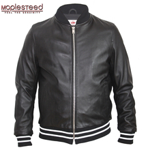 Jacket MAPLESTEED Clothing Spring 100%Sheepskin Male Autumn Soft Embroidery Casual Boy