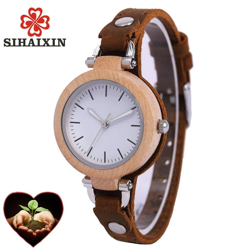 Luxury Unique Bamboo Wooden Women White Watch Bracelets Soft Leather Quartz Wrist Watches Ladies Clock With Gift Box Drop Shippi