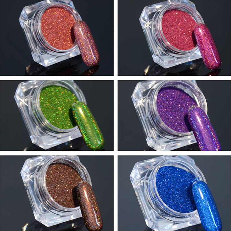6 Boxes Holographic Nail Glitter Powder Chrome Pigments Holo Laser Dust Shinny Nail Art Decorations