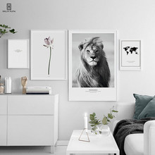 Nordic Unframed Canvas Home Decorative Group Pictures Of A D Dignity Lion Beautiful Flowers Wall Wall Art Posters Paintings human dignity