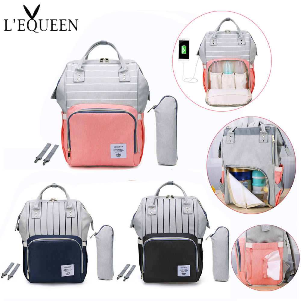 LEQUEEN Stripes Waterproof Mummy Diaper Bags Handbag Large Capacity USB Port Maternity Nursing Baby Bag For Mom Nappy Backpacks