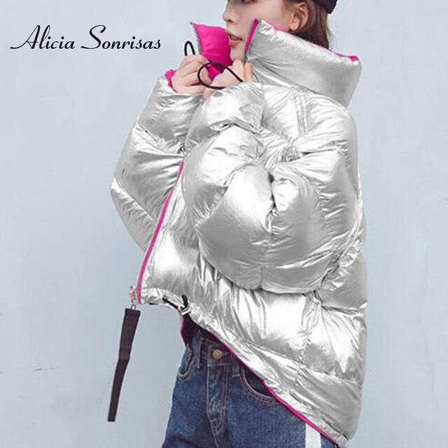 731d70c05e0 Двусторонняя зимняя хлопковая стеганая куртка для женщин с блестящим лицом  теплая Мода 2018 г. 4
