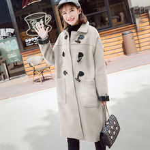 Winter Medium-Long Loose Thickless VINTAGE horn button Womens Coat