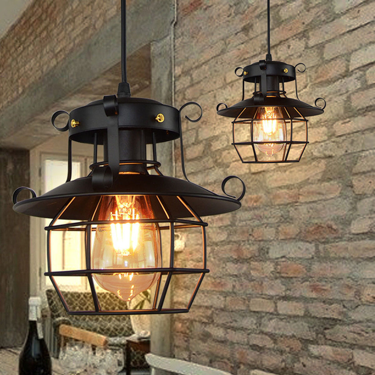 E27 Pendant Light Bar Kitchen Retro Industrial Hanging Lamp Ceiling Light Chandelier Fixtures Cage Edison Modern Loft Home Decor