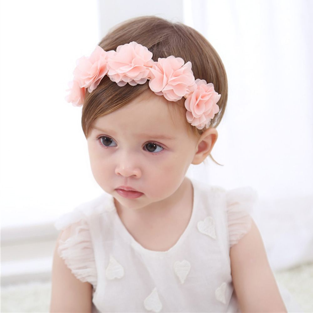 Baby Flower Crown Headband Chiffon Flower Wreath Pink Ribbon Hair Bands Children Girls Handmade DIY Headwear Hair Accessories new baby hair bands flower headband newborn girls hair band headwear handmade diy hair accessories children photography props