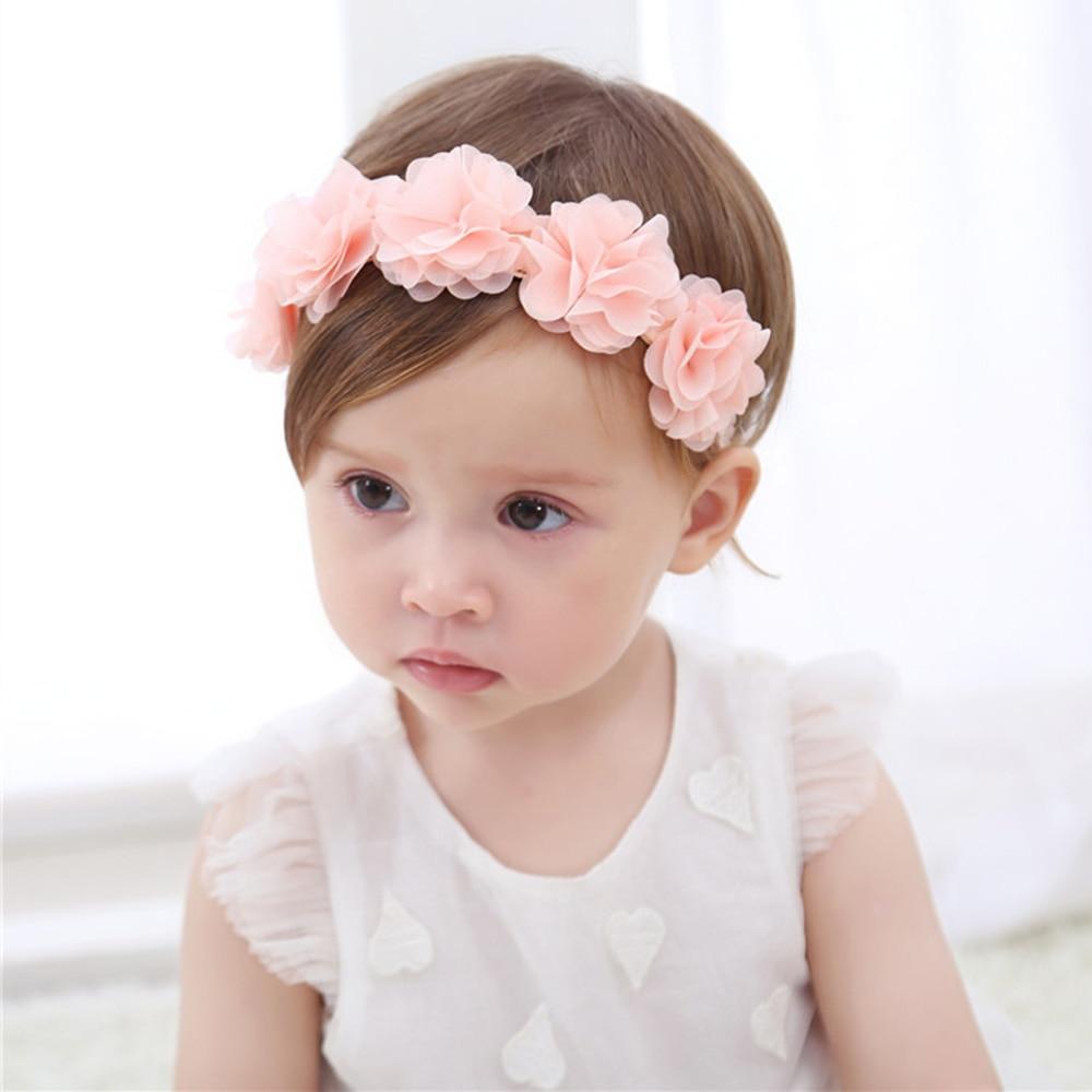 Детская Цветочная корона, повязка на голову, шифоновый цветочный венок, розовые Ленточные резинки для волос, Детские девушки, ручная работа,...