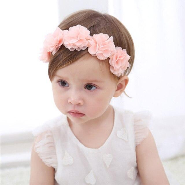 b08702587d64 Baby Flower Crown Headband Chiffon Flower Wreath Pink Ribbon Hair Bands  Children Girls Handmade DIY Headwear Hair Accessories