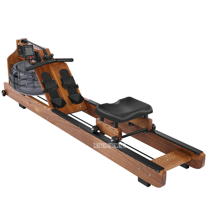 MR002 Water Resistance Row Machine Wood Material Abdominal Pectoral Arm Body Fitness Training Rowing Indoor Home GYM Equipment