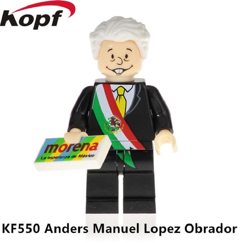 Single Sale Super Heroes Building Blocks Model Anders Manuel Lopez Obrador Action Cheech Marin Bricks Children Gift Toys KF550