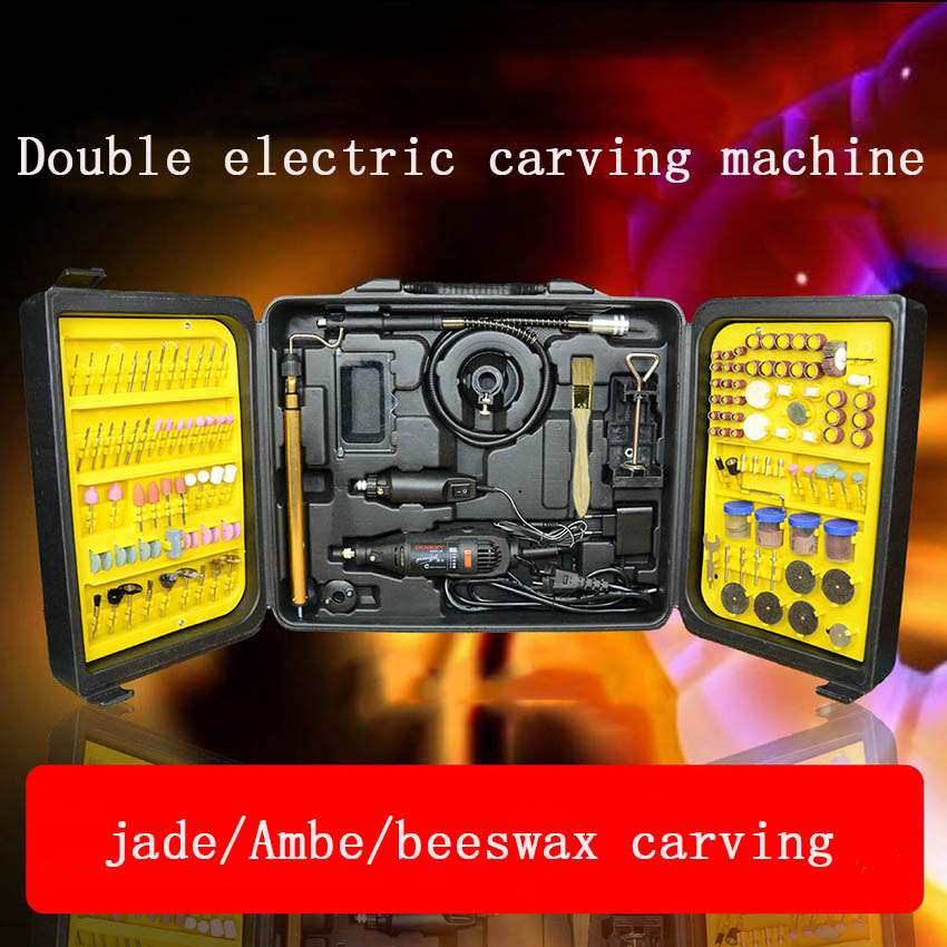 1pcdremel rotary tool,Double electric mill set jade/beeswax carving machine woodworking polisher/electric grinder jade hanging milling machine flexible shaft machine jewelry polisher 4mm 220v