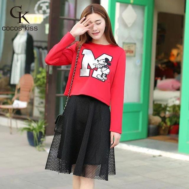 2016 newEuropean And American Cartoon printing O-neck long sleeve t-shirt Waist tulle Skirt Elastic Tops Two-piece suits