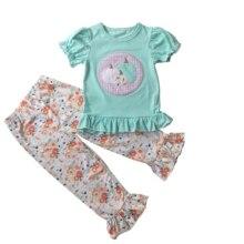 Puresun/новый модный дизайн для Хэллоуина, эксклюзивная Одежда для девочек, тыквенная аппликация, топ с цветочным принтом и гофрированными штанами для девочек, одежда для детей