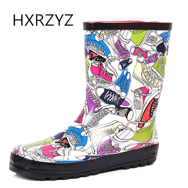 HXRZYZ women rain boots female cut cartoon rubber ankle boots new fashion waterproof Slip-Resistant spring/autumn women shoes hxrzyz women rain boots spring autumn female ankle boots ladies fashion high top blue and red non slip waterproof women shoes