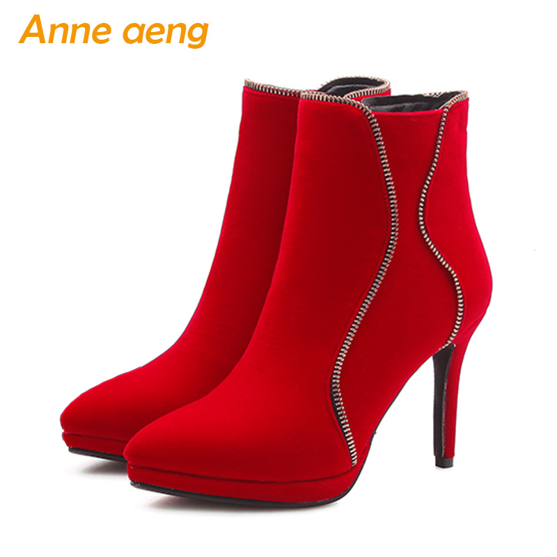 2019 New Winter Women Ankle Boots Platform High Heel zip pointed Toe Zip Sexy Ladies Motorcycle