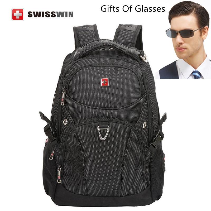 ФОТО Swisswin Classic Black  Travel Backpack School Backpack for Teenagers Waterproof Laptop Backpack SW9220