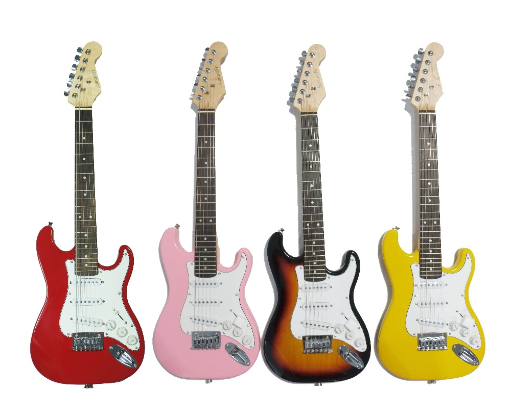 34'( 88cm L) electric guitar for children_3 single pickup 34'elelctric guitar for kids & Adults(Red/Yellow color) happy star 88 5c m 34 39 red