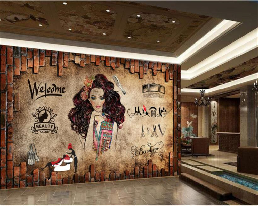 Beibehang nostalgic classic retro wallpaper make up beauty for Salon pictures for wall