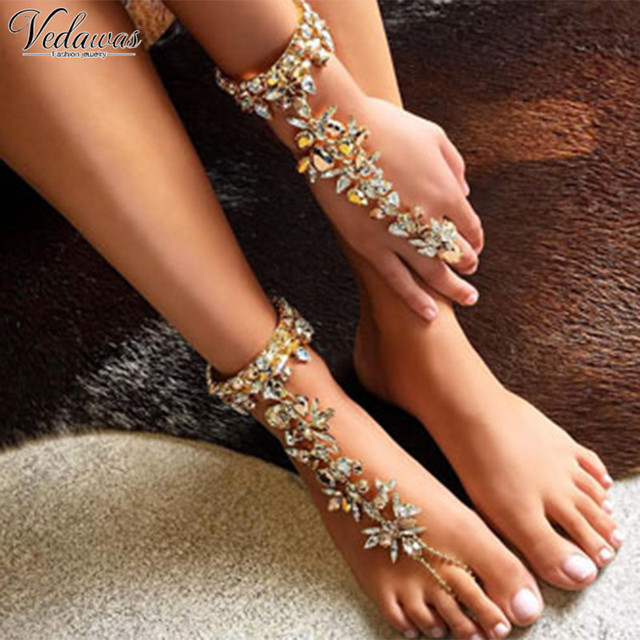 Vedawas 2017 Fashion Ankle Bracelet Wedding Barefoot Sandals Beach Foot  Sexy Jewelry Female Boho Crystal Anklet c4b03db5de15