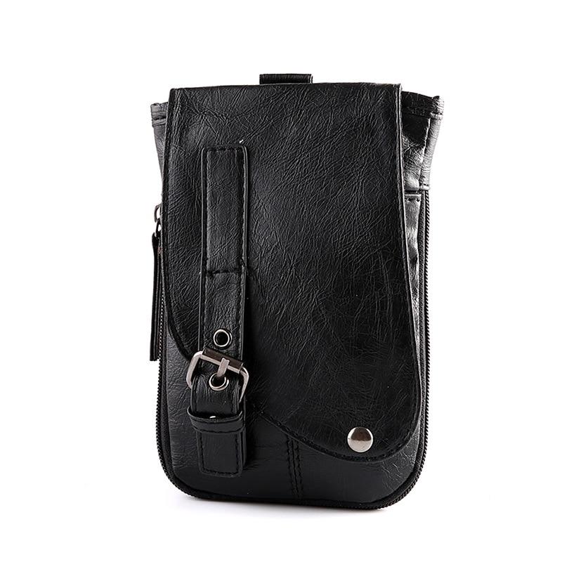 Mens Chic Mini Waist Pack Fashion Belt Buckle Cigarette Designer Black PU Leather Small Cellphone Bag Men