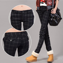 Plus cashmere winter trousers 2016 autumn and winter obesity MM 200 pounds plaid pants casual pants Slim pants XL Free shipping