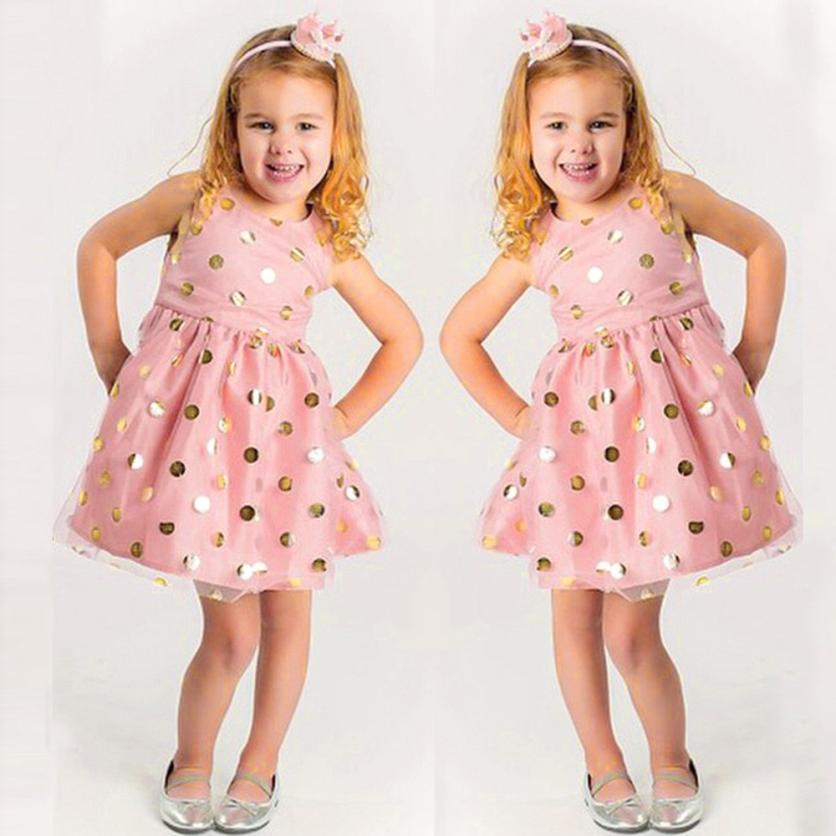 kids dresses for girls Baby Girls Infant Toddle Dot Tutu Zip Sleeveless Clothes Princess Dress m21