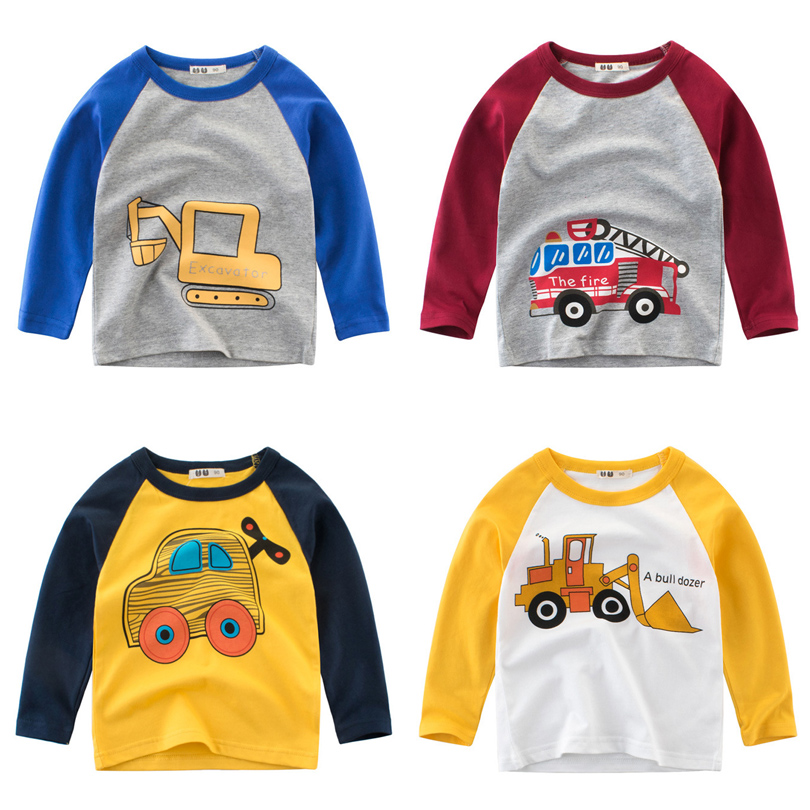 2018 Autumn Winter Cartoon Car Long Sleeve T Shirt Baby Boys Girls T-Shirt Kids Children Casual Clothing Tee Cotton Clothes цены