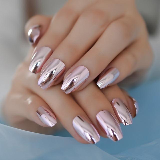 Metallic Coffin Designed Nails Medium Light Pink Ballerinas Nail ...