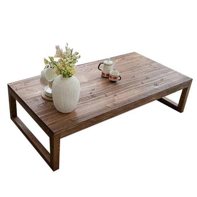 Antique Rustic Vintage Pine Coffee Center Table Wooden Living Room  Furniture Tea Table Rectangle Industrial Cocktail