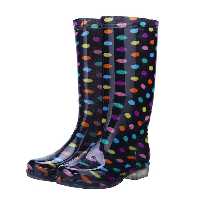 Rouroliu Women Polka Dot Rainboots PVC Waterproof Water Shoes Wellies Non-Slip Warm Knee-High Rain Boots Woman RT346