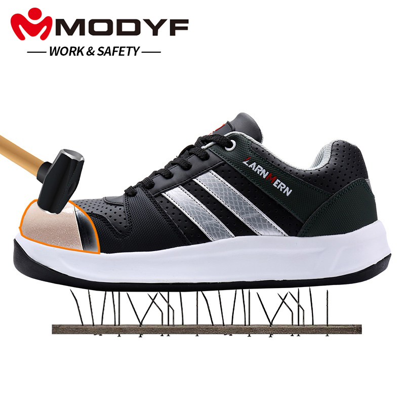 MODYF Men Safety Shoes Steel Toe Work Shoes Flats Casual Protective Footwear Sneaker