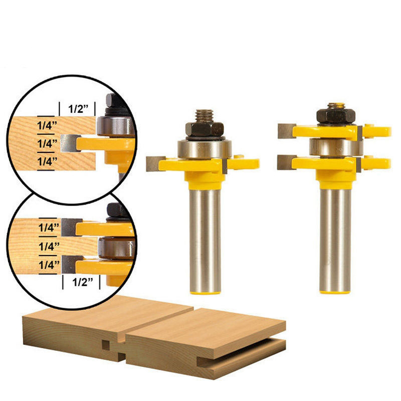 2pcs 1/2 Shank Matched Tongue and Groove Router Bit- 2 pc. Set w/ Set Wood Milling Cutter flooring knife 2pcs tongue