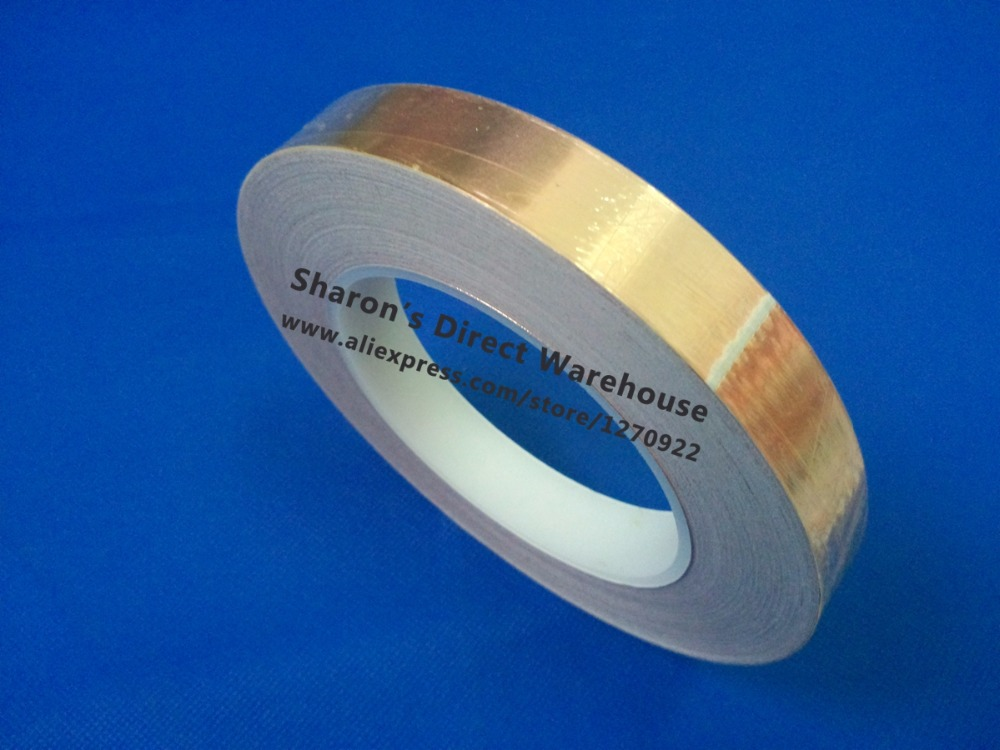 1 Roll 20mm*20M*0.06mm Self-Adhesive Copper Foil Tape for Magnetic Radiation /Electromagnetic Wave EMI Shielding Masking
