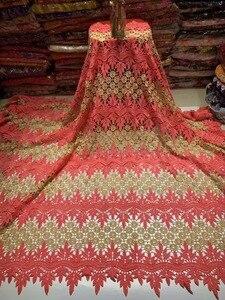Image 5 - Tela de encaje africano para boda, encaje de alta calidad, 5 yardas, tela nigeriana para vestido, ZQ A55
