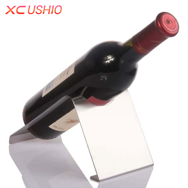 1 Pcs Stainless Steel Wine Rack Fashionable Design Right Angle Single Bottle Holder Display Stand For