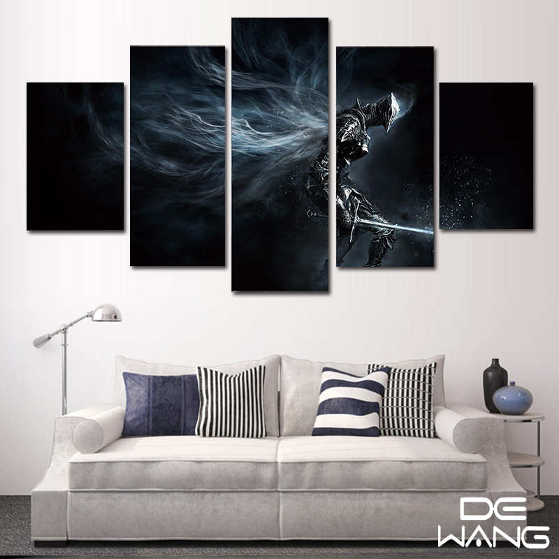 5 Panel Canvas Art Abstract Set Animal Movie Framed Picture Wall Art ...