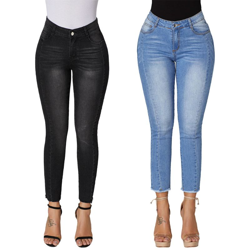 Women's Clothing Jeans Radient Spring And Summer 2019 New High-waist Ironing Drill Tight-fitting Pencil Jeans Womens Ankle Length Denim Pants Female