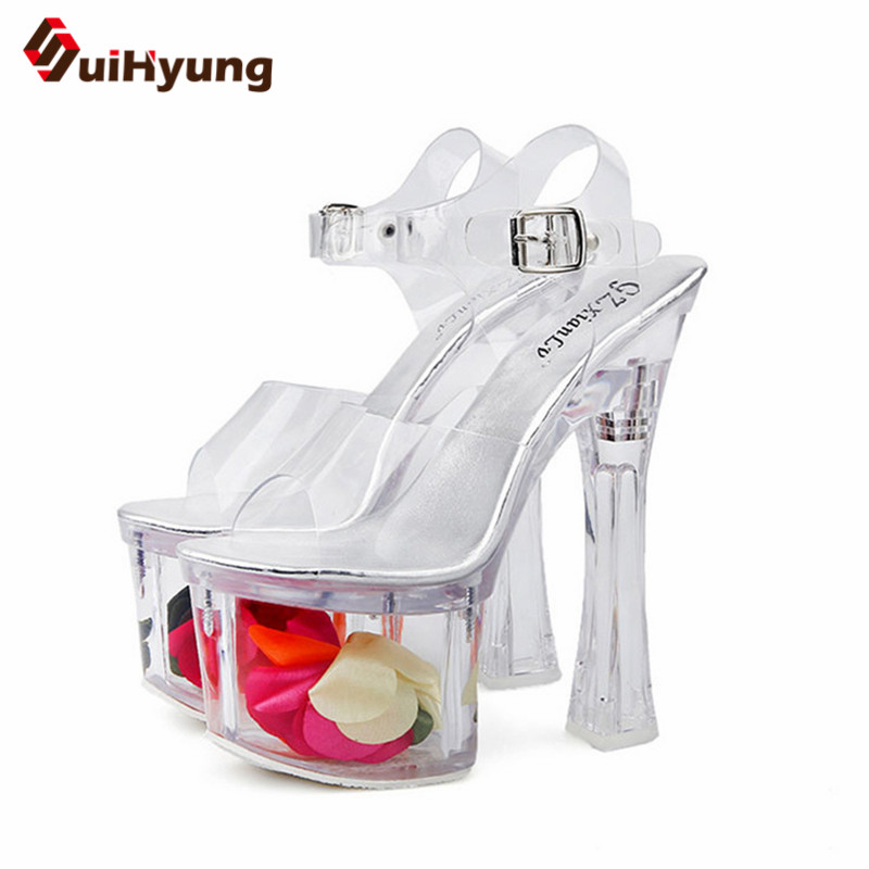 Suihyung 2018 New Women Summer Sandals Ankle Strap Flowers Platform Thin Heels Sandals Wedding Party Transparent Crystal Shoes crystal high heels shoes platform transparent pvc cross strap women gladiator sandals square toe nightclub party wedding shoes