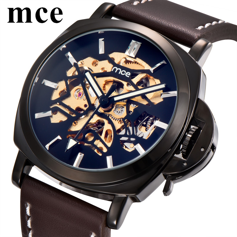 MCE Men Watch with Leather Band Self Wind Mechanical Mens Automatic Watches Top Brand Luxury Reloj Automatico Hombre Waterproof mce luxury brand skeleton square mechanical watches leather gold automatic watch men waterproof casual wristwatch reloj hombre