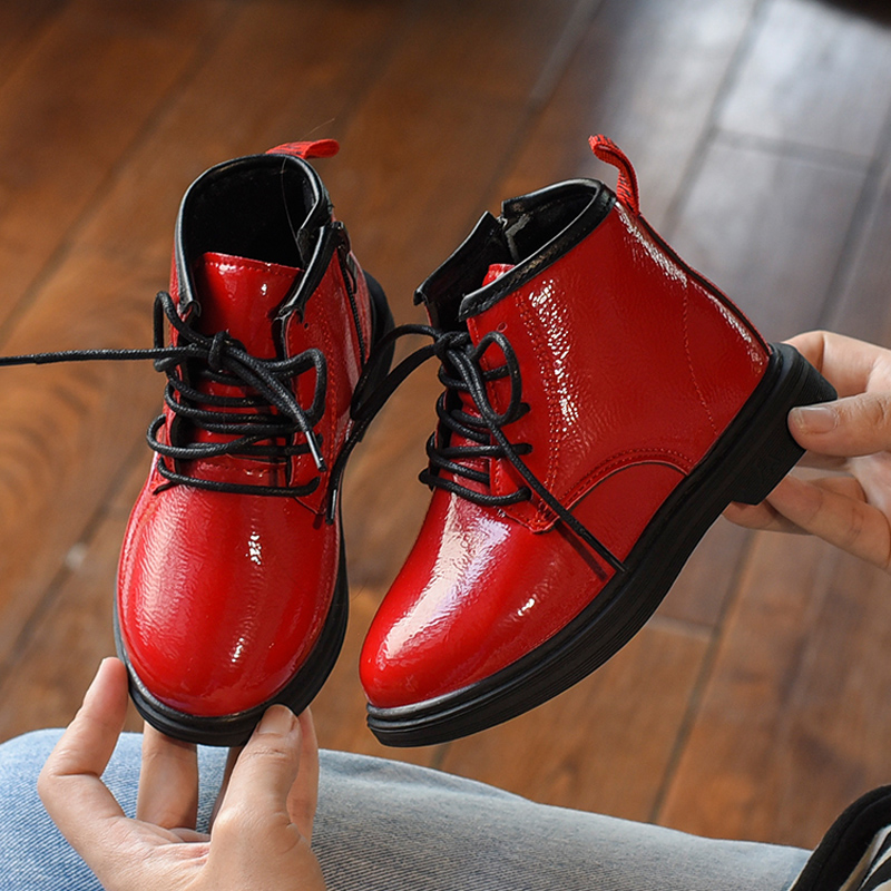 Baby Boys Spring Black Martin Boots Girls Ankle Boots Fashion Waterproof Leather Short Boots Kids Red Patent Leather Shoes