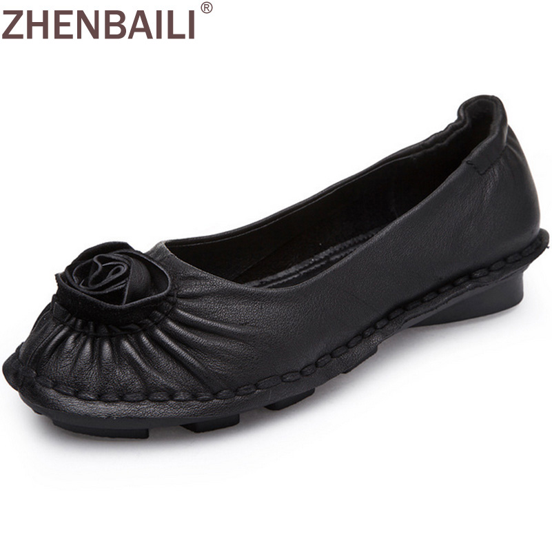 ZHENBAILI Fashion Genuine Leather Flower Pleated Women Loafers 2017 Spring Autumn Sewing Casual Flat Shoes Slip-on Lady Flats spring autumn women shoes genuine leather flats loafers flat platform casual fashion round toe slip on mesh transparent flower