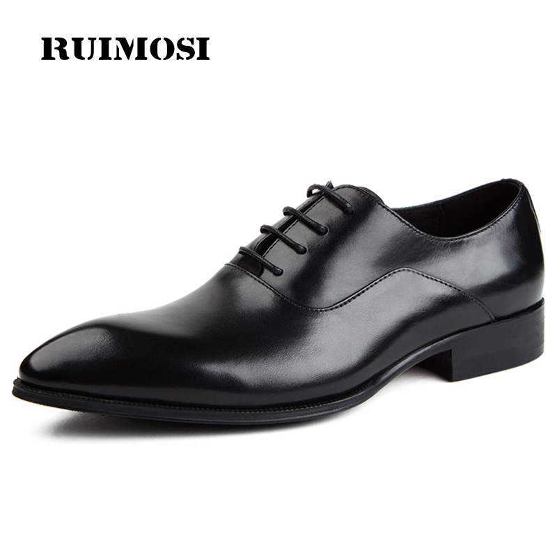 RUIMOSI Fashion Luxury Brand Man Shoes Genuine Leather Wedding Oxfords Pointed Toe Laced Men's Handmade Bridal Male Flats ME84