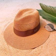 Moda mujer hombres verano paja panamá sombrero para señora ala ancha playa  sombrero con malla Sunbonnet 2c0607f262f