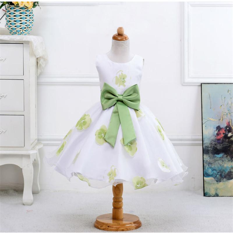 Bow Flower Girls Dresses Summer Children Clothing Princess Dresses For Girls 2017 baby Print Girl Party Dress Kids Girls Clothes 2017 summer cute style baby girls clothing princess ruched dress children s clothes costumes for kids infant party bow dresses