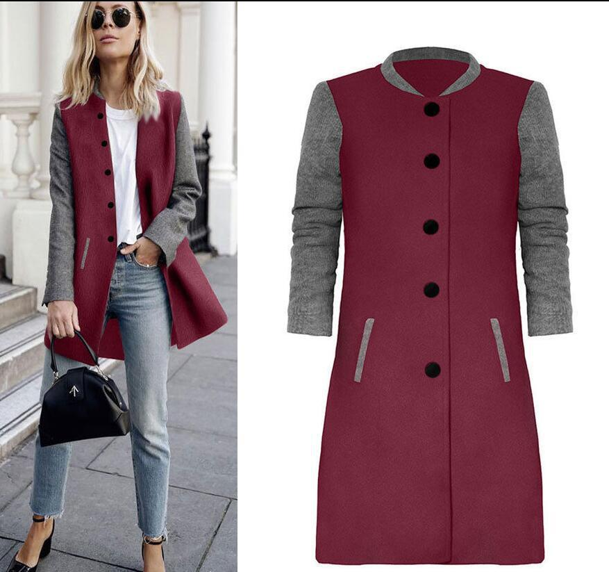 2018 New Spring Autumn Coat Long Sleeve Two Color Patchwork Jacket Buttons Long Coat Slim StreetWear Female Outwears Woolen Coat