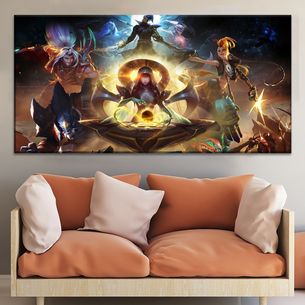 Game Character League of Legends Painting On Canvas Print Type And On The Wall Decor Artwork 1 Panel Style Game Large Poster in Painting Calligraphy from Home Garden