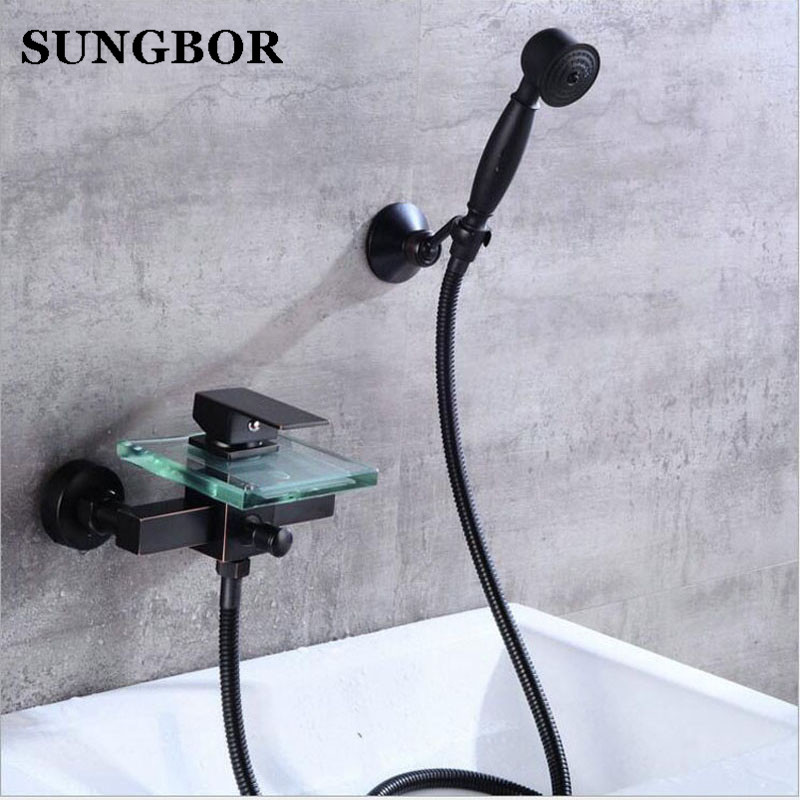 Wall Mounted Bathtub Faucet With Hand Shower Bath Shower Faucet Set Oil Rubble Bronze Finished Glass Spout Black Bath Faucet wall mounted oil rubbed bronze shower faucet black single handle bath and rain shower faucet with hand shower